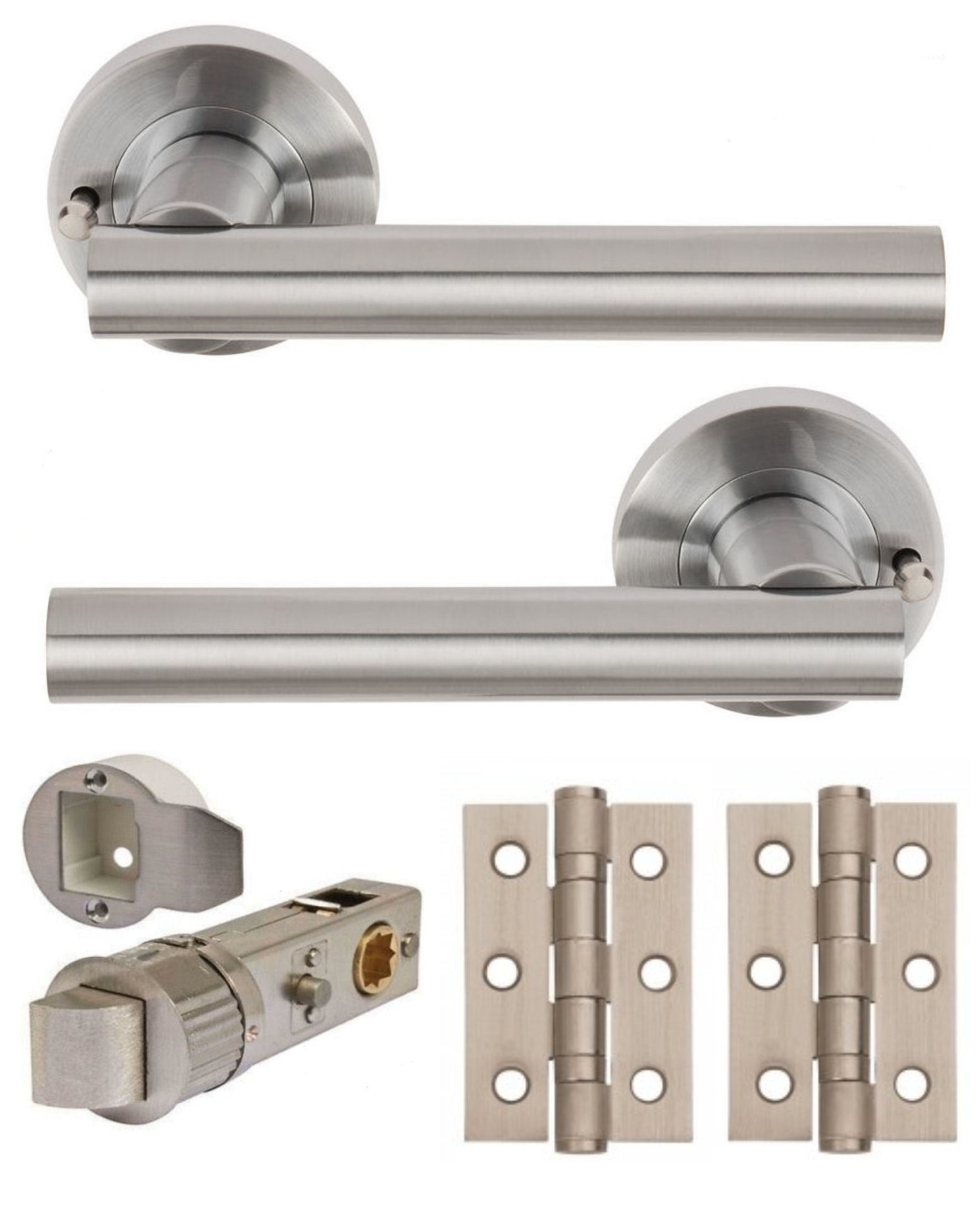 Sultan Satin Chrome 52mm Round Rose Push Button Privacy (Bathroom) + 3 inch  Hinges
